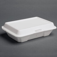 Dart Solo 206HT1R 9 inch x 6 inch x 3 inch White Foam Shallow Rectangular Take Out Container with Perforated Hinged Lid 200 / Case