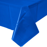 Creative Converting 723147B 54 inch x 108 inch Cobalt Blue Disposable Plastic Table Cover - 24/Case