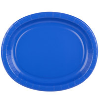Creative Converting 433147 12 inch x 10 inch Cobalt Blue Oval Paper Platter - 96/Case