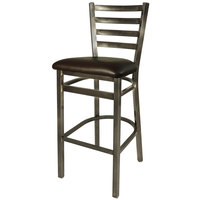 BFM Seating 2160BDBV-CL Lima Steel Bar Height Chair with 2 inch Dark Brown Vinyl Seat and Clear Coat Frame