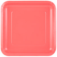 Creative Converting 463146 9 inch Coral Orange Square Paper Plate - 180/Case
