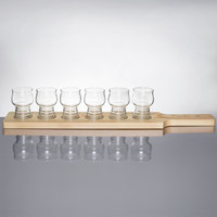 Libbey Craft Cider / Beer Flight - 4 Glass Set with Natural Wood Paddle