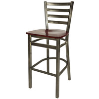 BFM Seating 2160BMHW-CL Lima Steel Bar Height Chair with Mahogany Wooden Seat and Clear Coat Frame