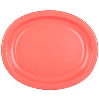 Creative Converting 433146 12 inch x 10 inch Coral Orange Oval Paper Platter - 96/Case