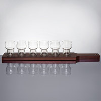 Libbey Craft Cider / Beer Flight Set - 6 Glasses with Red Brown Wood Paddle