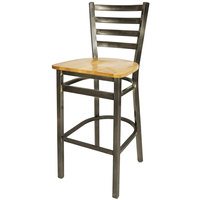 BFM Seating 2160BNTW-CL Lima Steel Bar Height Chair with Natural Wooden Seat and Clear Coat Frame