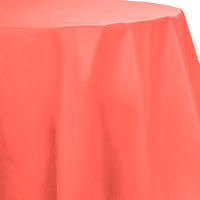 Creative Converting 703146 82 inch Coral Orange OctyRound Disposable Plastic Table Cover - 12/Case