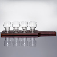 Libbey 5 oz. Cider Glass Beer Flight Set - 4 Glasses with Red-Brown Beer Flight Paddle