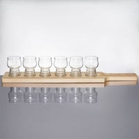 Libbey Craft Cider / Beer Flight Set - 6 Glasses with Natural Wood Paddle