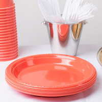 Creative Converting 28314621 9 inch Coral Orange Plastic Plate - 240/Case