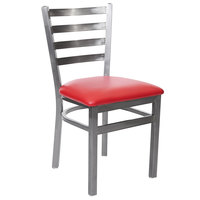 BFM Seating 2160CRDV-CL Lima Steel Side Chair with 2 inch Red Vinyl Seat and Clear Coat Frame