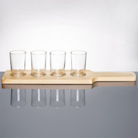 Libbey Craft Brews Beer Flight Set - 4 Glasses with Natural Wood Paddle