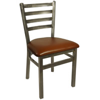BFM Seating 2160CLBV-CL Lima Steel Side Chair with 2 inch Light Brown Vinyl Seat and Clear Coat Frame