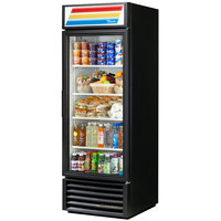 True GDM-23-HC-LD Black Glass Door Refrigerated Merchandiser with LED Lighting
