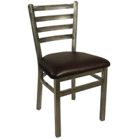 BFM Seating 2160CDBV-CL Lima Steel Side Chair with 2 inch Dark Brown Vinyl Seat and Clear Coat Frame