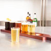 Libbey Craft Brews Beer Flight Set - (6) 5 oz. Glasses with Red Brown Wood Paddle