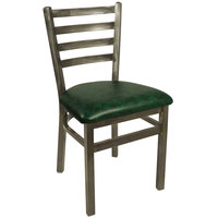 BFM Seating 2160CGNV-CL Lima Steel Side Chair with 2 inch Green Vinyl Seat and Clear Coat Frame