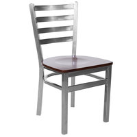 BFM Seating 2160CWNW-CL Lima Steel Side Chair with Walnut Wooden Seat and Clear Coat Frame