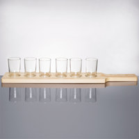 Libbey Craft Brews Beer Flight Set - 6 Glasses with Natural Wood Paddle