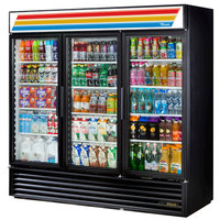 True GDM-72-HC-LD Black Glass Door Refrigerated Merchandiser with LED Lighting