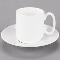10 Strawberry Street B4524B4525 Izabel Lam Pond 4 oz. White Bone China Espresso Cup and Saucer Set - 18/Case
