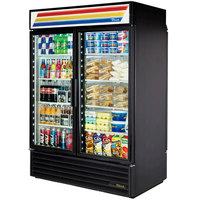 True GDM-49RL-HC-LD Black Rear Loading Glass Door Refrigerated Merchandiser with LED Lighting