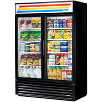 True GDM-49-HC-LD Black Glass Door Refrigerated Merchandiser with LED Lighting