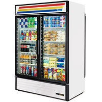 True GDM-49RL-HC-LD White Rear Loading Glass Door Refrigerated Merchandiser with LED Lighting