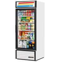 True GDM-26-HC-LD White Glass Door Refrigerated Merchandiser with LED Lighting