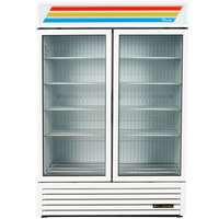 True GDM-49F-HC~TSL01 White Glass Door Merchandiser Freezer with LED Lighting