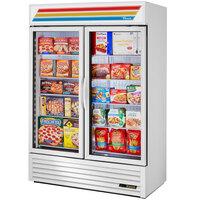 True GDM-49F-HC~TSL01 White Glass Door Merchandiser Freezer with LED Lighting