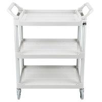 Rubbermaid FG342488OWHT Off-White Three Shelf Utility Cart / Bus Cart 33 x 18 x 37 (FG342488OWHT)