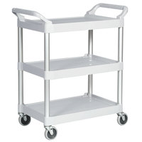 Rubbermaid FG342488OWHT Off-White Three Shelf Utility Cart / Bus Cart 33 x 18 x 37 (FG342488OWHT)