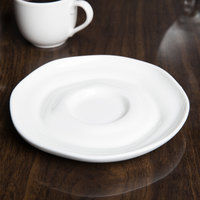 10 Strawberry Street P4315 Izabel Lam Ripples 5 1/2 inch Bright White Porcelain Saucer - 48/Case