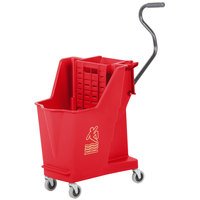 Continental 351RD 35 Qt. Red Unibody Mop Bucket with Built-In Wringer