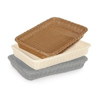 GET WB-1509-H Designer Polyweave Plastic Rectangular Basket - Honey 18 inch x 12 1/4 inch x 2 1/2 inch - 12/Pack