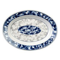 Thunder Group 2109DL Blue Dragon 9 inch x 6 3/4 inch Oval Melamine Deep Platter - 12/Pack