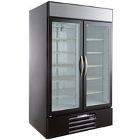Beverage-Air MMR44HC-1-B MarketMax 47 inch Black Two Section Glass Door Merchandiser Refrigerator - 45 cu. ft.