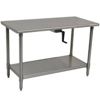Eagle Group T2448SEB-HA Center Crank 16 Gauge Type 304 Stainless Steel Adjustable Height ADA / Ergonomic Work Table with Undershelf - 24 inch x 48 inch