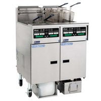 Pitco SSHLV14TC-2/FDA Solstice Liquid Propane 64 lb. Reduced Oil Volume / High Output 2 Unit Split Pot Fryer System with Intellifry Computer Controls and Automatic Top Off - 148,000 BTU