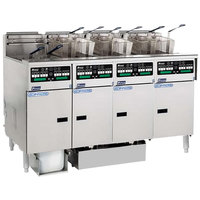 Pitco SSHLV14C-4/FDP Solstice Supreme Natural Gas 128 lb. Reduced Oil Volume / High Output 4 Unit Fryer System with Intellifry Computer Controls and Push Button Top Off - 300,000 BTU