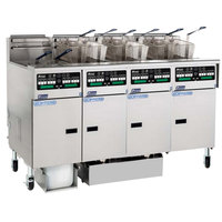 Pitco SSHLV14C-4/FDP Solstice Supreme Liquid Propane 128 lb. Reduced Oil Volume / High Output 4 Unit Fryer System with Intellifry Computer Controls and Push Button Top Off - 300,000 BTU