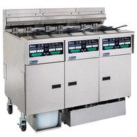 Pitco SSHLV14C-2/14T/FDP Solstice Liquid Propane 96 lb. Reduced Oil Volume Fryer System with 1 Split Pot Unit, 2 Full Pot Units, and Push Button Top Off - 224,000 BTU