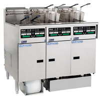 Pitco SSHLV14C-3/FDP Solstice Supreme Natural Gas 96 lb. Reduced Oil Volume / High Output 3 Unit Fryer System with Intellifry Computer Controls and Push Button Top Off - 225,000 BTU