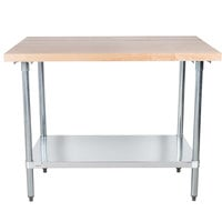 Advance Tabco H2G-244 Wood Top Work Table with Galvanized Base and Undershelf - 24 inch x 48 inch