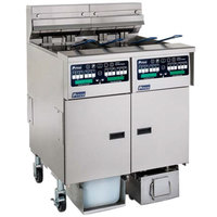 Pitco SELV14C-2/FDP Solstice 60 lb. Reduced Oil Volume / High Output 2 Unit Electric Fryer System with Intellifry Computer Controls and Push Button Top Off - 34 kW