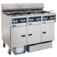 Pitco SSHLV14C/14T-2/FDP Solstice 96 lb. Reduced Oil Volume Electric Fryer System with 2 Split Pot Units, 1 Full Pot Unit, and Push Button Top Off - 223,000 BTU