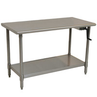 Eagle Group T3048SEB-HA Right Crank 16 Gauge Type 304 Stainless Steel Adjustable Height ADA / Ergonomic Work Table with Undershelf - 30 inch x 48 inch