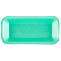 Genpak 111.5 (#1.5) Foam Meat Tray Green 8 3/8 inch x 3 7/8 inch x 7/8 inch - 500/Case