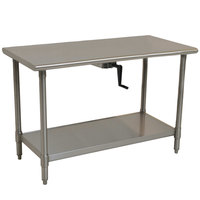 Eagle Group T2460SE-HA Center Crank 14 Gauge Type 304 Stainless Steel Adjustable Height ADA / Ergonomic Work Table with Undershelf - 24 inch x 60 inch